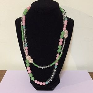 """Pastels necklace pink and mint green 18"""""""
